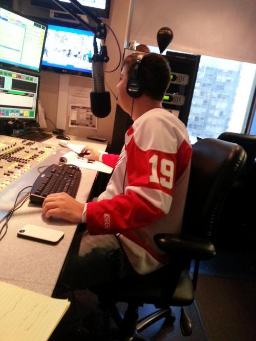 Photo: Shepkowski Wearing A Red Wings Jersey Today