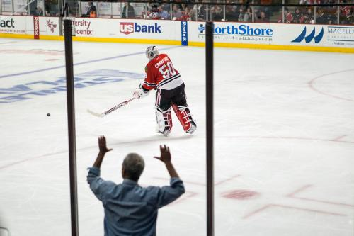 'Stylish' Rahm Emanuel Behind The Glass At Blackhawks-Wild Game