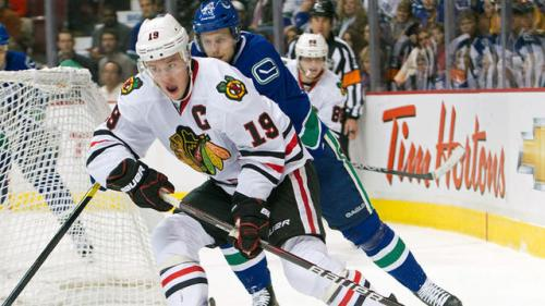 Toews Tests Skates During Hawks Practice